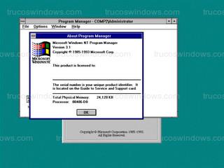 Windows NT 3.1 - Información del sistema