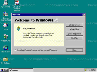 Windows 95 - Bienvenido a Windows 95