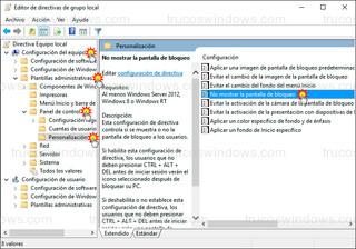 Editor de directivas de grupo local - No mostrar la pantalla de bloqueo