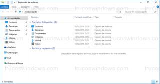 Windows 10 - Explorador de archivos con arranque en acceso rápido