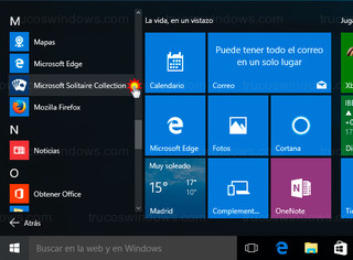 Windows 10 - Aplicaciones > Solitario