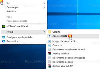 Windows 10 - Nuevo > acceso directo