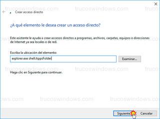 Windows 10 - Ubicación del elemento