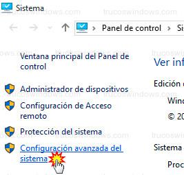 Windows 10 - Configuración avanzada del sistema