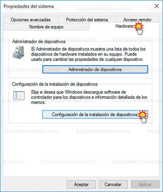 Windows 10 - Configuración de la instalación de dispositivos