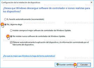 Windows 10 - No instalar nunca software de controlador de Windows update