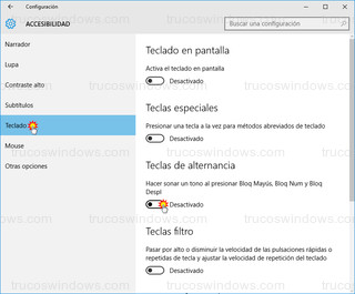Windows 10 - Habilitar teclas de alternancia