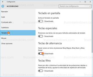 Windows 10 - Habilitar teclas de alternancia