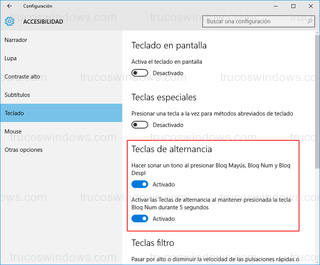 Windows 10 - Teclado > Teclas de alternancia