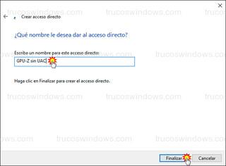 Crear acceso directo - Nombre para el acceso directo