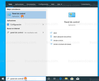 Windows 10 - Acceso Panel de control de Windows