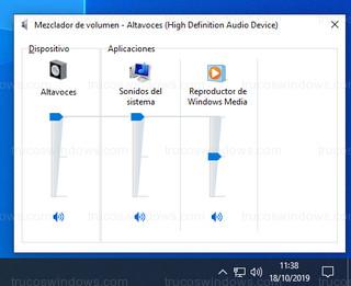 Windows 10 - Control de volumen independiente