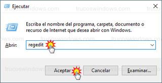 Windows 10 - Ejecutar > regedit
