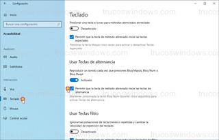 Teclado > Usar Teclas de alternancia - Permitir que la tecla de método abreviado inicie las teclas de alternancia