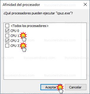 Afinidad del procesador - Núcleos CPU 1 y CPU 3 deshabilitados