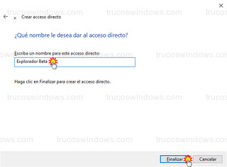 Crear acceso directo - Nombre del acceso directo