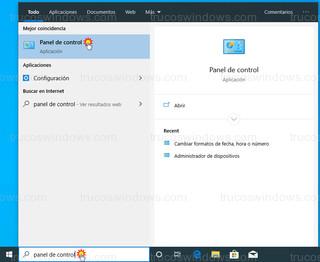 Windows 10 - Panel de control