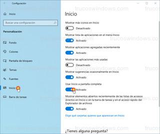 Configuración Inicio - Usar Inicio a pantalla compelta