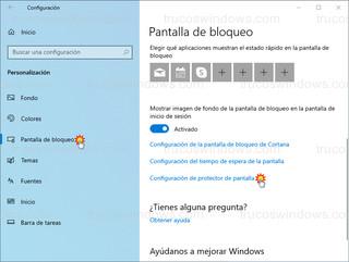 Pantalla de bloqueo - Configuración de protector de pantalla