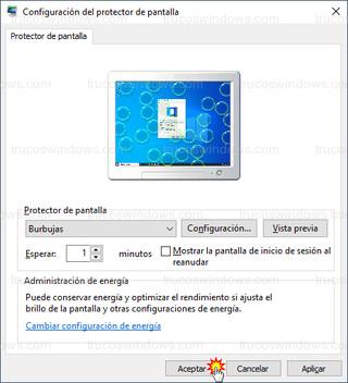 Configuración del protector de pantalla - Protectores y configuracion del salvapantallas