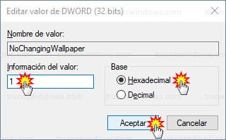 Editar valor DWORD (32 bits) - 1 Hexadecimal