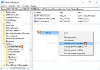Editor del Registro - Nuevo > Valor de DWORD (32 bits)
