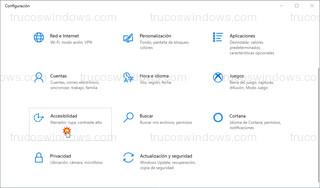 Windows 10 > Configuración - Accesibilidad