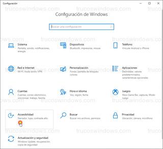 Windows 10 Configuración - Accesibilidad
