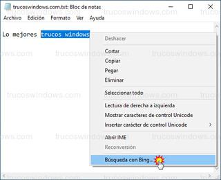 Bloc de notas - Buscar con Bing en el Bloc de notas
