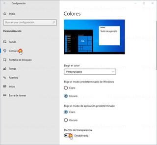 Personalización - Colores - Efectos de transparencia