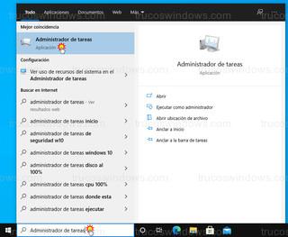 Windows 10 - Administrador de tareas