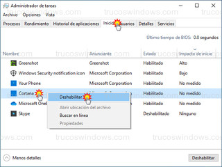 Administrador de tareas - Deshabilitar Cortana