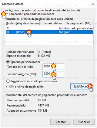 Memoria virtual - Cambiar tamaño del archivo de paginación