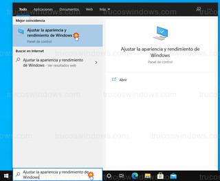 Windows 10 - Ajustar la apariencia y rendimiento de Windows