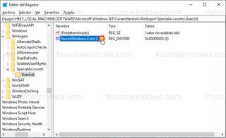 Editor del Registro - Nombre de usuario oculto