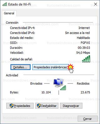 Estado de Wi-Fi - Propiedades inalámbricas