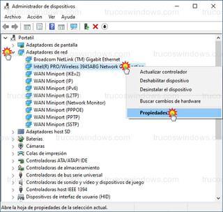 Administrador de dispositivos - Intel (R) PRO/Wireless 3945ABG