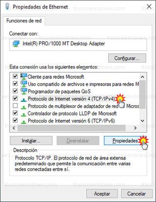 Propiedades de Ethernet - Protocolo de Internet versión 4 (TCP/IPv4)