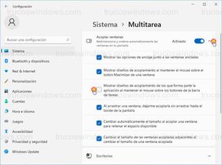 Sistema > Multitarea - Desactivar diseños de acoplamiento
