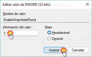Editor del registro - Editar EnableSnapAssistFlyout