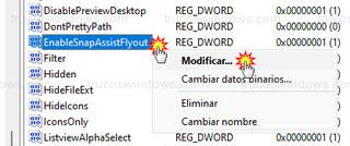 Editor del registro - Modificar... EnableSnapAssistFlyout