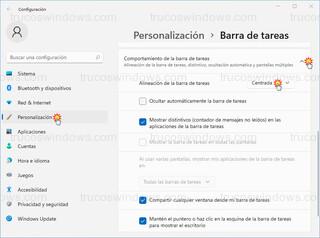 Comportamiento de la barra de tareas - Alineación de la barra de tareas