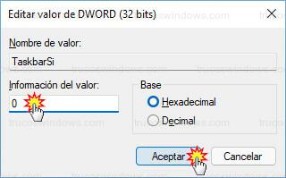 Editor del registro - Editar TaskbarSi