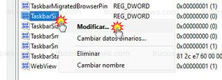 Editor del registro - Modificar: TaskbarSi