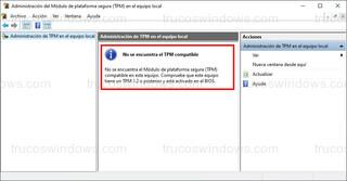 Administración del Módulo de plataforma segura - No se encuentra el TPM compatible