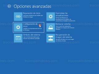 Opciones avanzadas - Configuración de inicio