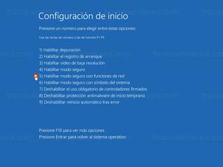 Configuración de inicio - Habilitar modo seguro con funciones de red