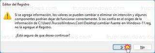 Editor del Registro de Windows 11 - Agregar información