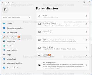 Personalización - Fuentes