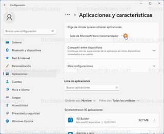 Elige de dónde quieres obtener aplicaciones - Solo de Microsoft Store (recomendado)